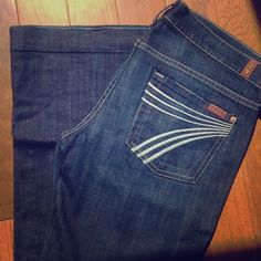 7 for all Mankind Dojo petite jeans size 28 7 for all Mankind Dojo petite wide leg jeans size 28. These jeans are in great condition! Cool detail on back pockets! The inseam on these jeans measures approximately 30 1/2 inches. 7 for all Mankind Jeans Flare & Wide Leg