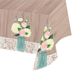 Rustic Wedding 54 x 102 Plastic Tablecover All Over Print/Case of 6