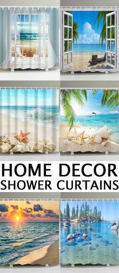 Find Shower Curtains at Dresslily.com. Enjoy Free Shipping & browse our great selection of Shower Curtains that will look great in your bathroom!#home#bathroom#showercurtain Hookless Shower Curtain, Insulated Curtains, Guest Room Office, Beach Themes, Bathroom Inspiration, Shower Curtains, Diy Home Decor, Backdrops, Interior Decorating