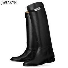 5fa25be13d4974 JAWAKYE Designer Genuine Leather Long Boots Woman Motorcycle Booties Belt  Strap Metal Shark Lock Flat Heel Knee High Boots