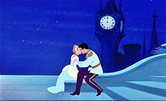 Cinderella gets a kiss from the Prince. #disney