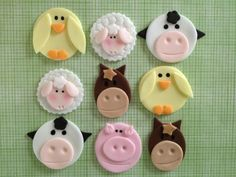 Edible Fondant Farm Animal Cupcake or Cookie Toppers Assortment - Set of 12