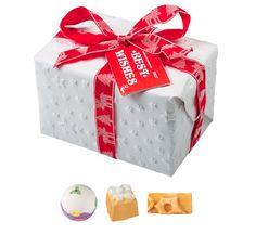 Best Wishes gift, containing: Luxury Lush Pud bath bomb, Golden Wonder bath bomb, Snowcake soap Golden Wonder Bath Bomb, Lush Shop, Wish Gifts, Wishing Well, Secret Santa, White Christmas, More Fun, Christmas Gifts, Creative