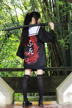 here be dragons — Iron Prop Never Say Die sukeban haori in dragon or. Female Pose Reference, Pose Reference Photo, Figure Drawing Reference, Japanese Fashion, Asian Fashion, Mode Cyberpunk, Japonese Girl, Katana Girl, Style Lolita