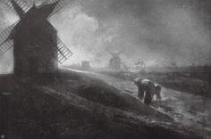 'Windmills - Mont Saint Michel, France' by Robert Demachy, 1907 (autotype)