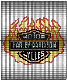 Inspiration Photo of Harley Davidson Crochet Hat Pattern - Cross Stitch - Brands - Senin Favorin Easy Cross Stitch Patterns, Small Cross Stitch, Cross Stitch For Kids, Needlepoint Patterns, Afghan Crochet Patterns, Quilt Patterns Free, Crochet Afghans, Bead Patterns, Knitting Patterns