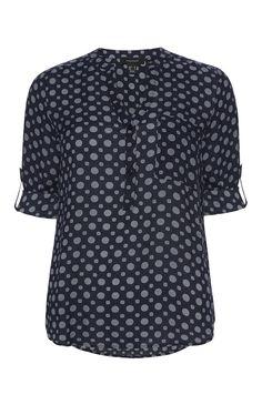 Primark - Donkerblauwe viscose blouse met print