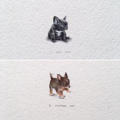 Irene Mia: Tiny Watercolor French Bulldog & Chihuahua Puppies