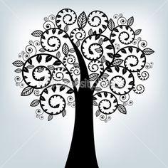 Черный стилизованные дерево — Векторная картинка #4329482