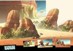 Burning Safari from Florent de La Taille on Vimeo . colors researchs and colors script. Art Environnemental, Art Et Nature, Landscape Concept, Film D'animation, Game Concept Art, Animation Background, Environment Concept, Matte Painting, Environmental Design