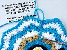 Delights-Gems: crochet rose ripple potholder potholder pot holder how to pattern ripple cotton Easy Granny Square, Granny Square Crochet Pattern, Crochet Motif, Crochet Flowers, Crochet Stitches, Knit Crochet, Crochet Patterns, Crochet Hats, Potholder Patterns
