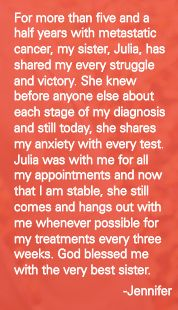 """All About Us asked members of the community to give a """"shout out"""" to the inspirational caregivers in their lives. Here's Jennifer's shout out to her sister. #inspiration"""
