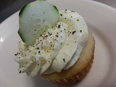 Cupcake - Cucumber & Tarragon Vanilla cream filled vanilla cake topped with a subtle sweet fresh cucumber and tarragon buttercream, pickled cucumber and fresh cracked peppercorns Vanilla Cream, Vanilla Cake, Pickling Cucumbers, Gourmet Cupcakes, Cake Toppings, Avocado Toast, Pickles, Fresh, Baking