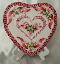 Hand Painted Red Heart Valentine Cottage Chic Roses Hydrangeas Lace HP w/stand