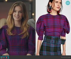 Sutton's checked puff sleeve top on The Bold Type Fashion Tv, Bold Fashion, Autumn Fashion, Fashion Outfits, Tv Show Outfits, Cool Outfits, University Outfit, Office Looks, Casual Looks