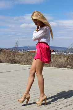 Discover this look wearing Stradivarius Skirts, H&M Sweaters, Bershka Heels - Pink, please! by IoanaCarmen styled for Spring Bloom, Everyday in the Spring Sexy Legs And Heels, Hot High Heels, Great Legs, Beautiful Legs, Sexy Dresses, Nice Dresses, Pernas Sexy, Tan Pantyhose, Mini Bikini