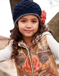 Girls Crochet Beanie Hat - Navy Blue Coral and Ivory - Baby Toddler Child Sizes on Etsy, $23.00