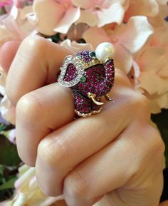 █ Ruby, Emerald, & Diamond Jeweled Elephant Ring █ 14K White Gold █ HM1088 #Cocktail