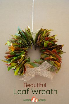 Make memories with this simple and stunning leaf wreath - Mother Natured Christmas Activities, Christmas Crafts For Kids, Fall Crafts, Christmas Wreaths, Christmas Ideas, Christmas Branches, Tree Branches, Halloween Crafts, Holiday Crafts