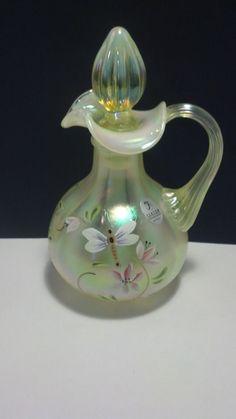 "FENTON ART GLASS 2001 HISTORIC ""LILY TRAIL ON TOPAZ OPALESCENT"" DRAGONFLY CRUET"