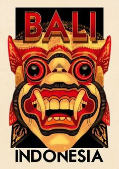 Great artwork on this poster featuring Bali, Indonesia. #dragons #posterdesign  barong