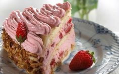 Vaaleanpunainen täytekakku / Pink cake Cake Recipes, Snack Recipes, Snacks, Scandinavian Food, Danish Food, Food Cakes, Food And Drink, Strawberry, Sweets