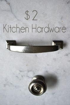 $2 Kitchen Hardware, renovating kitchen on a budget