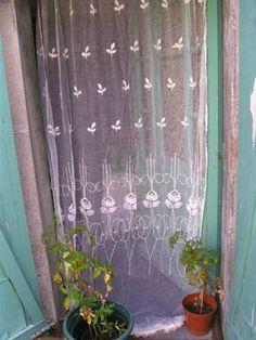 vintage french ART NOUVEAU tambour lace door or window panel!!!!