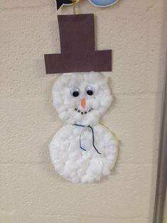 Snowman: Construction paper, cotton balls, yarn, eyes, poster board