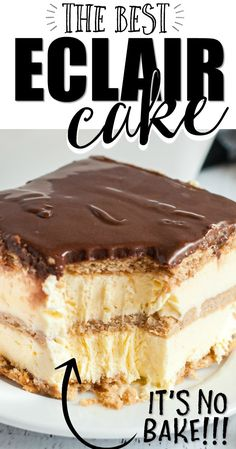 This éclair cake is a chocolate éclair but bigger and better—in cake form. It's stacked in sweet, creamy, delicious layers of pudding and graham crackers. Mini Desserts, Summer Dessert Recipes, Easy Cake Recipes, Easy Desserts, Sweet Recipes, Baking Recipes, Elegant Desserts, How To Make Desserts, Potluck Deserts