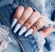 acrylic nail designs of glamorous ladies of the summer season 24 > mydecorh. acrylic nail designs of glamorous. Acrylic Nails Coffin Short, Blue Acrylic Nails, Simple Acrylic Nails, Coffin Shape Nails, Acrylic Nail Designs, Pastel Blue Nails, Light Blue Nails, Blue Coffin Nails, Matte Nails