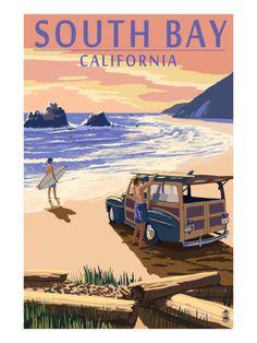 South Bay, California - Woody on Beach Print by Lantern Press