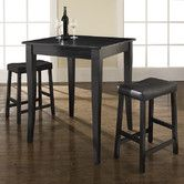 Crosley Furniture 3 Piece Pub Dining Set with Cabriole Leg and Upholstered Saddle Stools in Classic Cherry Finish Pub Dining Set, Kitchen Dining Sets, 3 Piece Dining Set, Pub Set, Dining Room Sets, Dining Room Table, Kitchen Ideas, Small Dining, Dining Area