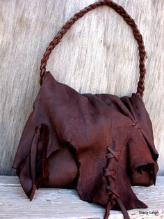 Rustic Lovers Only Dark Brown Elkskin Leather Bag by stacyleigh, $249.95