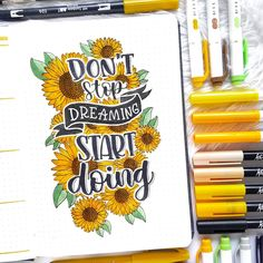 Comment a sunflower emoji if you see this! Absolutely love this quote and art! By 🌻🌻🌻 // Use the tag for a chance of being featured. Use the code for off at & (they all provide worldwide shipping! Remember to shop around! Bullet Journal Inspo, Bullet Journal Quotes, Journal Fonts, Bullet Journal Tracker, Bullet Journal Aesthetic, Bullet Journal Notebook, Bullet Journal Themes, Bullet Journal Spread, Bullet Journal Layout