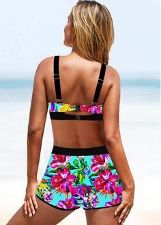Tropical Print Bowknot Drawstring Waist Bikini Set | modlily.com - USD $21.99 Brown Bikini, Purple Bikini, Sexy Bikini, Bikini Set, Floral Swimsuit, One Piece Swimwear, Bra Styles, Drawstring Waist, Swimsuits 2017