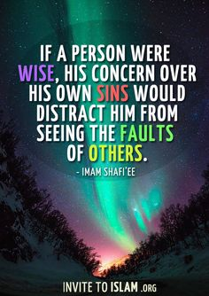 invitetoislam: If a person were wise, his concern over his own sins would distract him from seeing the faults of others. — Imam Shafi'ee