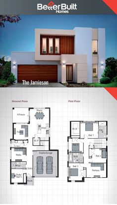 The Jamieson: Double Storey House Design.   250 Sq.m – 10.9m x 16.6m Escape the everyday with the Jamieson's unique facade, yet practical floor plan. Build a lifetime of memories in the Jamieson with it's stylish kitchen, 3 living area's and an oversized master bedroom. #BetterBuilt #flooplans