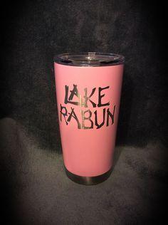 Calcutta 20 oz. mug coated with Duracoat Pink Lady with custom logo.