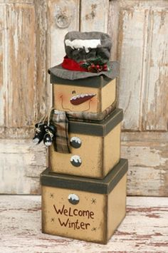 Snowman Stacking Boxes