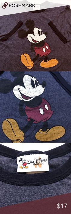 MICKEY MOUSE VINTAGE TEE THIS TEE SHIRT IS GREY WITH BLACK TRIM GOING AROUND THE NECK & SLEEVES ❤️🖤❤️ IT IS UNIVERSAL FOR A GAL OR A GUY 🖤🖤🖤❤️❤️❤️ walt disney world Tops Tees - Short Sleeve