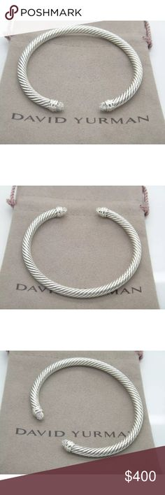 DY 5mm Diamond Tip Cuff Bangle Sz Medium None of missing diamonds. Your purchase includes certificates of authenticity and DY dust pouch. Professional polish the bangle in great shape. Feel free to offer me David Yurman Jewelry Bracelets