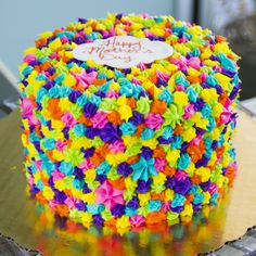 A colorful rainbow Mother's Day cake. Cake # 005.