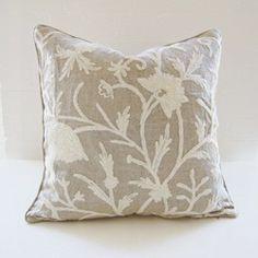 Crewel embroidered linen pillow