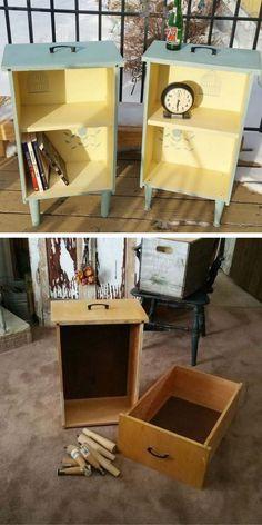 25 cool DIY furniture hacks that are so creative - repurpose - .- 25 coole DIY Möbel-Hacks, die so kreativ sind – Repurpose – … 25 cool DIY furniture hacks that are so creative -… - Refurbished Furniture, Repurposed Furniture, Rustic Furniture, Diy Upcycled Decor, Diy Furniture Repurpose, Antique Furniture, Milk Crate Furniture, Recycling Furniture, Recycled Home Decor