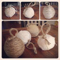 Rustic Christmas Ornament Idea.... Handmade With Linen, Jute And Burlap....