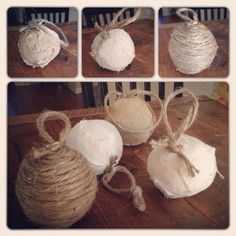 rustic Christmas ornaments - handmade with linen, jute and burlap