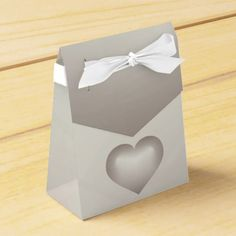 Silver fade heart favor box