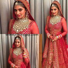 Indian bride wearing bridal lehenga and jewelry. Big Fat Indian Wedding, Indian Wedding Outfits, Bridal Outfits, Indian Outfits, Bridal Dresses, Indian Weddings, Emo Outfits, Party Dresses, Indian Bridal Fashion