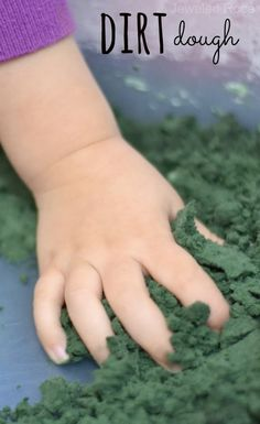 Dirt dough looks and feels just like dirt, but it is moldable, germ free and CLEAN!  You only need two ingredients to make it, too!  {Great for playing with cars and trucks, pretend bug hunts, small world construction sites, etc}